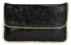 Kazo Women Solid Faux Leather - Clutch Black
