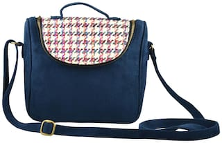 Lost & Found Women Solid Polyester - Sling Bag Blue