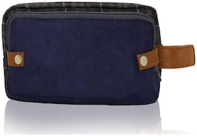 Lost & Found Navy Blue Classic Tweed 2 In 1 Travel Pouch Kit/Toiletry Bag/Medical Kit/Multipurpose Pouch