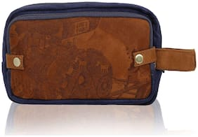 Lost & Found Navy Blue & Tan Suede Printed 2 In 1 Travel Pouch Kit/Toiletry Bag/Medical Kit/Multipurpose Pouch