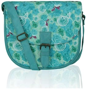 Lost & Found Women Printed Fabric - Sling Bag Blue
