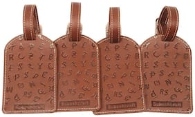 Sukeshcraft Luggage Tags Suitcase Tag Travel Bag Labels 4 Pcs.-Brown