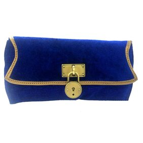 Luxury Living Women Solid Canvas - Clutch Blue