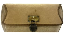 Luxury Living Women Solid Canvas - Clutch Beige