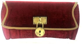 Luxury Living Women Solid Canvas - Clutch Maroon