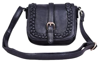 003752910f3e2 Buy Lychee bags Women Solid Pu - Sling Bag Black Online at Low ...