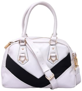 Lychee Bags White Faux Leather Handheld Bag