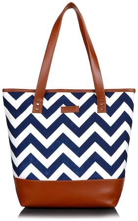 Lychee bags Women Printed Canvas - Tote Bag Blue & White