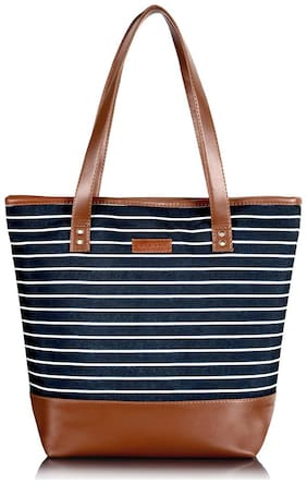 Lychee bags Women Striped Canvas - Tote Bag Black