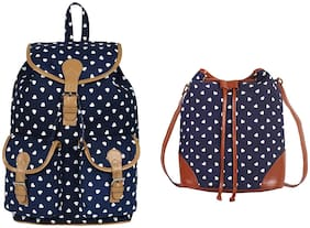 Lychee bags Blue Canvas Backpack