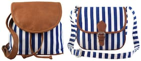 Lychee bags Blue Canvas Solid Sling Bag