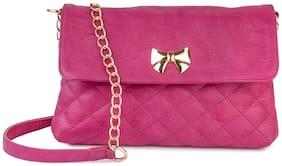 Lychee Bags Pink PU Solid Sling Bag