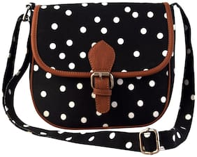 Lychee bags Black Canvas Solid Sling Bag