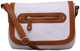 Lychee Bags White PU Solid Sling Bag