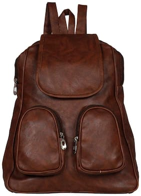 Maeva Brown Synthetic Backpack