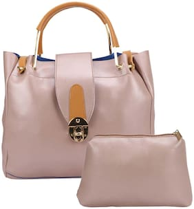 Maeva Pink Faux Leather Handheld Bag