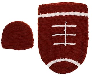 Buy Magideal Handmade Crochet Football Baby Hat Sleeping Bag Sets