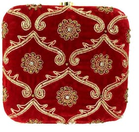 Luxury Living Women Solid Canvas - Clutch Red