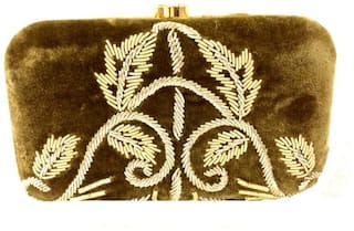 Luxury Living Women Solid Canvas - Clutch Brown