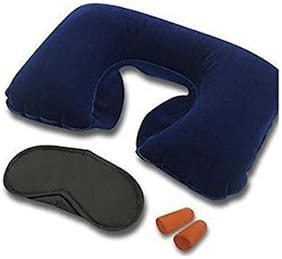 Maitri Cotton and Polyester 3-in-1 Air Travel Kit with Pillow, Ear Buds and Eye Mask