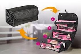Make Up Cosmetic Case Organizer Bag Case Roll-up Cosmetic Pouch Toiletry Zip Jewelry Wash Makeup Bag (Multi Color) 1Pc
