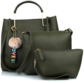 Mammon Green PU Handheld Bag - LR-bib