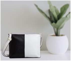 Mammon Black & White PU Solid Sling Bag
