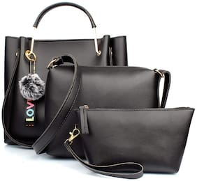 Mammon Black PU Handheld Bag - LR-bib