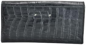 Mandava genuine leather croco printed ladies purse with great organizer pockets (Black)