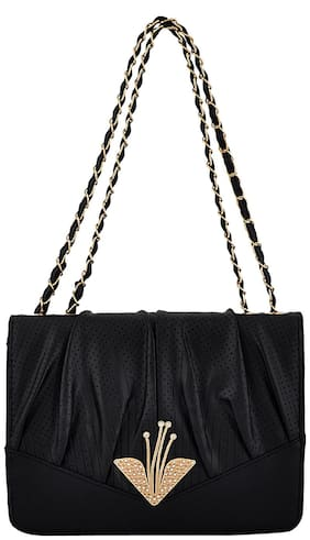 Mark & Keith Black Polyester Solid Sling Bag