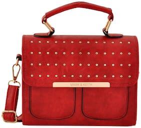 Mark & Keith Maroon PU Handheld Bag