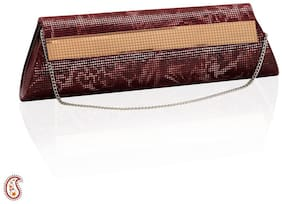 Aapno Rajasthan Women Solid Faux Leather - Clutch Maroon
