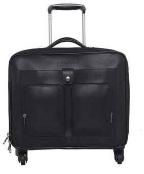 MBOSS Black 34 Liter Faux Leather Trolley Bag With 15.6 inch Laptop Compartment