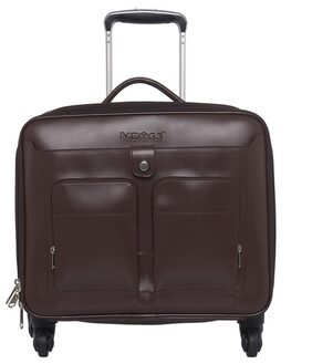 MBOSS Brown 34 Liter Faux Leather Trolley Bag With 15.6 inch Laptop Compartment