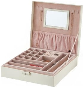 Medetai Women PU & Leather Vanity Case - White & Beige