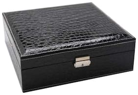 Medetai Women PU & Leather Vanity Case - Black & Beige