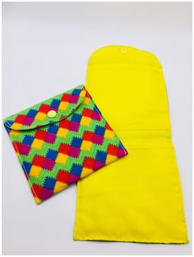 Meher Collection Multi Color Sanitary Pad Pouch Combo Single & Two-Pockets with Yellow Lining and Button
