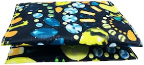 Meher Collection Multi Color 2 Pockets Sanitary Pad Pouch with Neon Green Lining