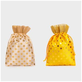 Meher Collection Women s Ethnic Rajasthani Polka Dots Potli Bag for Return Gifts (Pack of 2)  Medium (Yellow-Cream)