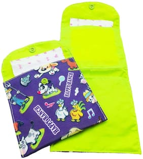 Meher Collection Sanitary Pad & Nappy Pouch Combo with Single Pocket  and 2 Pockets in Purple Ranch Print with Neon Green Lining and Button