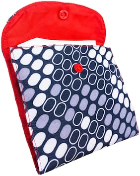 Meher Collection Sanitary Pad Pouch with 2 Pockets in Box Print with Red Lining and Button