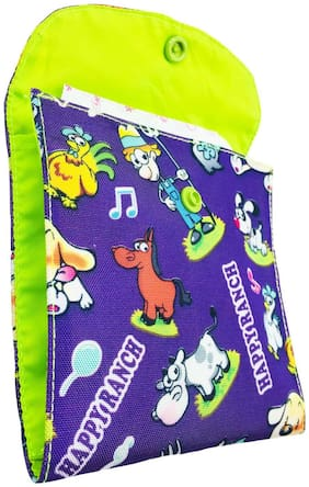 Meher Collection Sanitary Pad Pouch with 2 Pockets in Purple Ranch Print with Neon Green Lining and Button