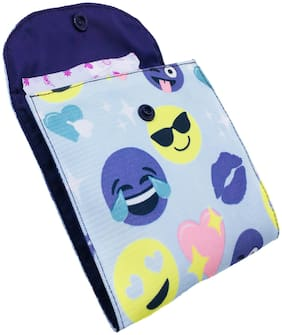 Meher Collection Sanitary Pad Pouch with 2 Pockets in Smiley Print with Purple Lining and Button