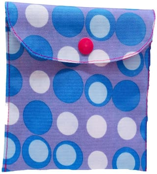 Meher Collection Sanitary Pad & Nappy Pouch with Single Pocket in Polka Print with Pink Lining and Button