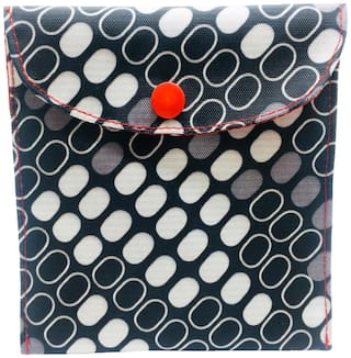 Meher Collection Sanitary Pad Pouch with Single Pocket in Box Print with Red Lining and Button