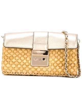 MICHAEL BY MICHAEL KORS WOMEN S 30S6MG2C3M740 YELLOW GOLD VISCOSE SHOULDER  BAG   International Bazaar b388c85acbc5d