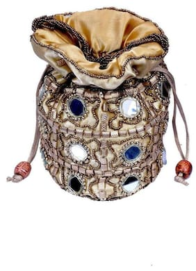 Mirror Design Beige Multi-Color Potli Bag with Beads for Girls/Women