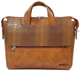 Monza Tan Leather Laptop messenger bag