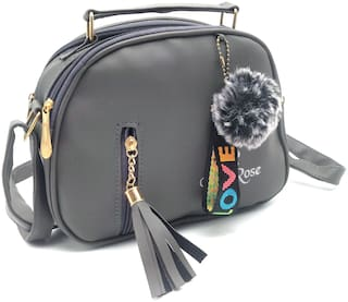 MORGENCRAFTS Grey Faux Leather Solid Sling Bag
