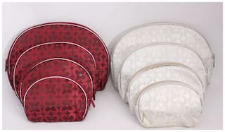 Multipurpose Pouches - 2 Sets of 4 Pcs in Maroon & Beige